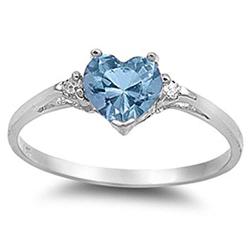 Oxford Diamond Co Simulated Aquamarine Heart & White Cubic Zirconia Ring Size 10