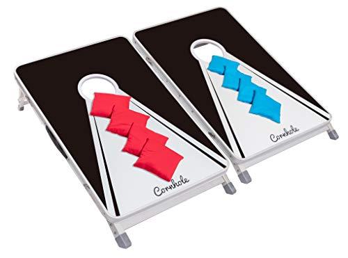 Original Cornhole Board Set - Black & White - 2 Cornhole Boards, 8 Bean Bags und Regelwerk