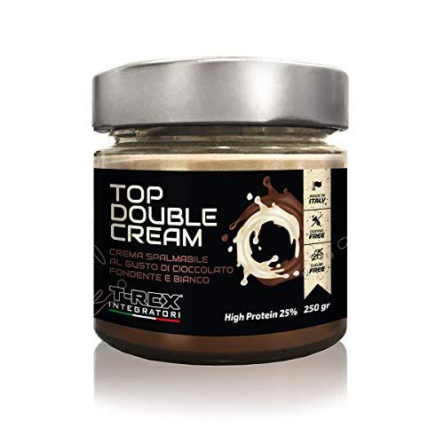 Crema Proteica Spalmabile Top Double Cream 250g Cioccolato Bianco e Fondente, Con il 25% di Proteine del Siero Latte con Zero Zuccheri. Senza olio di palma T-REX INTEGRATORI