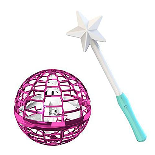 LFTS Magic Flying Toy Ball para niños, LED Adults Outdoor Indoor Drones Juguetes 360 ° Rotating Small UFO Mini Drone Magic Hand Controlled Ball Niños Niñas,Barbie Powder