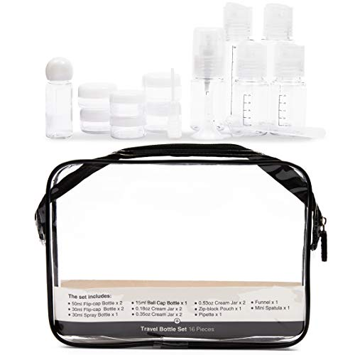 16 Pack Travel Bottle Kit Set – TSA Approved BPA Free Leak Proof Toiletry Cosmetic Makeup Liquids Containers for Lotion, Shampoo, Cream, Soap with Travel Bag – Clear