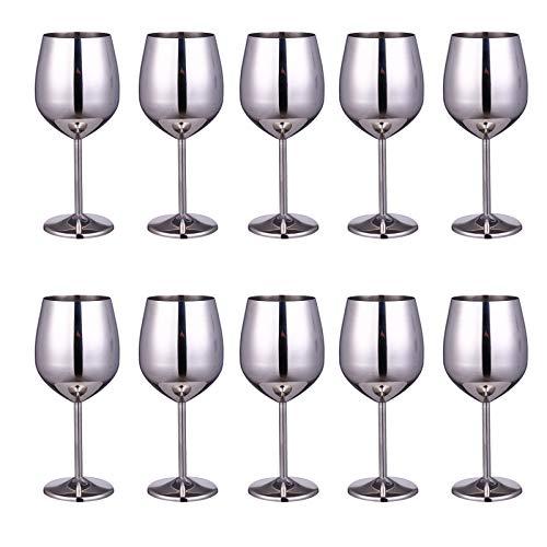 JIAYOUA 304 Acero Inoxidable Copa de Vino Metal Cóctel de Cristal Bar Restaurante Champagne Glass Vidrio Copa de Vino Cubilidad de 500ml Luz de Espejo