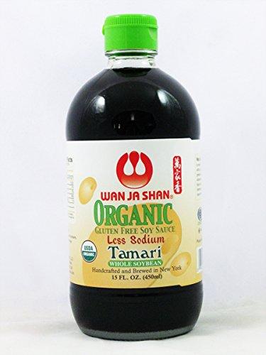 Wan Ja Shan Organic Tamari Soy Sauce 15oz. LESS SODIUM, Kosher, GLUREN FREE, USDA Certified Organic Organic Soy Sauce, Dark Soy Sauce, Shoyu Soy, Naturally Brewed Soy Sauce, Organic Soy Sauce, Dark Soy Sauce, Marinade for Fish, Meat & Vegetables. MADE IN USA.