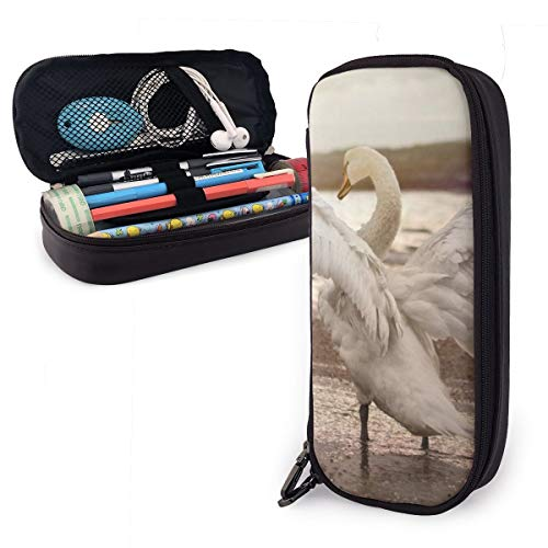 FJSLIE Retro Birds Swans PU Leather Pouch Storage Bags Portable Student Pencil Office Stationery Bag Zipper Wallets Makeup Multi-Function Bag