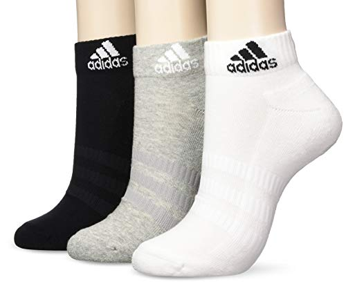 adidas Unisex 3 Paar Cushion Ankle Socken, Medium Grey Heather/White/Black, XXL EU
