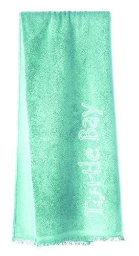 Turtle Bay – Telo da mare / Pareo – Asciugamano da bagno – Beach Towel with Fringes Plain Color – Colore: Aqua Splash – Dimensioni: 180 x 100 cm