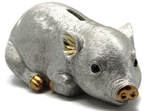 Bada Bing Sparschwein Schwein Ferkel Silber HBT Ca. 12 x 25 x 10 Zuckersüß Edel Hochwertig Detailliert Gearbeitet Geschenk 00