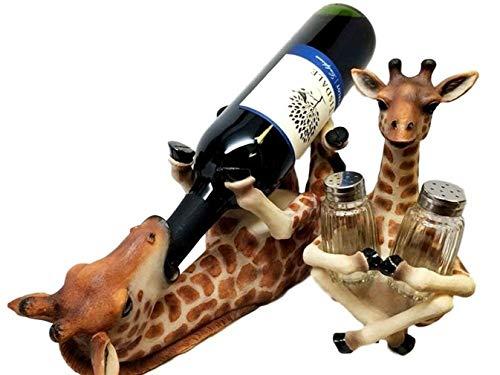 Ky & Co YK Safari Giraffe Wine Bottle and Salt and Pepper Shakers Holder Kitchen Figurine