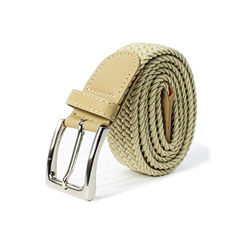 Glamexx24 Unisex Elastischer Stoffgürtel Geflochtener Stretchgürtel Dehnbarer Gürtel für Damen und Herren, Beige, 105cm