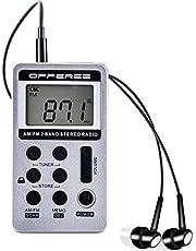 offeree FM/AMラジオ 大きいLCD液晶ディスプレー DSP技術 高感度 充電式 メモリー可能 ローク機能搭載 ポータブル ポケットラジオ 両色選択可 (シルバー)