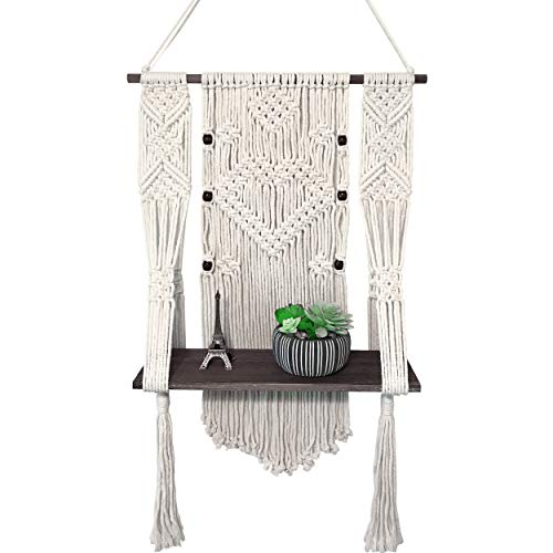 CLYPCO Macrame Wall Hanging Shelf – Boho Wall Shelf – Rattan Shelf for Home Decor - Premium Quality Wall Planters for Indoor Plants - Lovely Rustic Design - Easy DIY Mounting