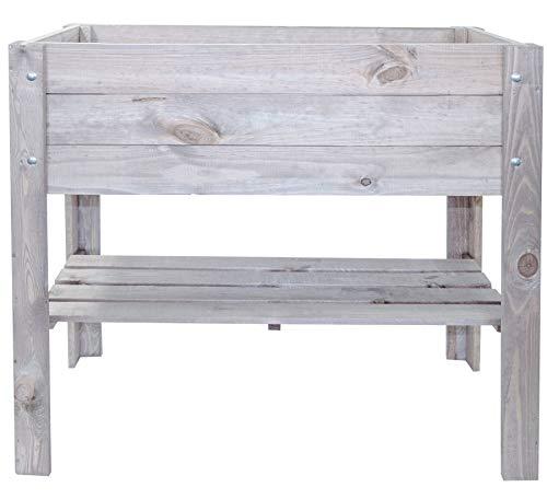 mgc24® Hochbeet - Kiefernholz anthrazit/grau rechteckig, für Garten/Terrasse/Balkon - 80,5 x 40 x 78,5 cm mit Ablage