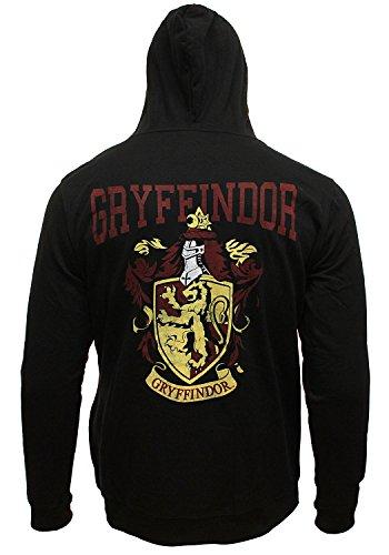 Harry Potter Men's Distressed Gryffindor House Crest Full Zip Hoodie Sweatshirt (Medium)