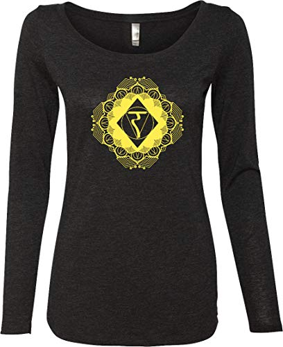 Yoga Clothing For You Diamond Manipura Ladies Lightweight Long Sleeve Shirt, Black Medium
