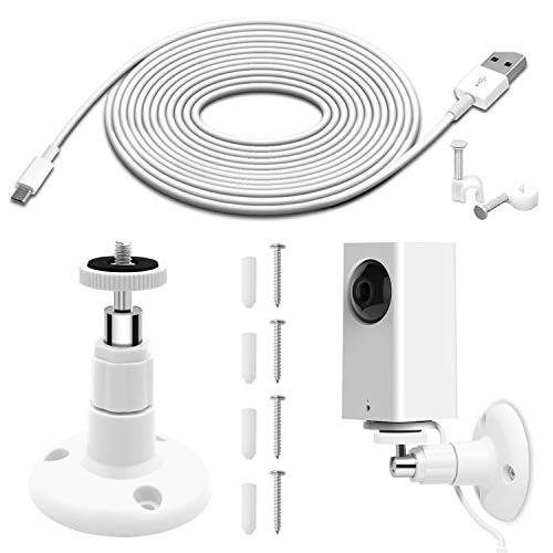 Security Camera Wall Mount Plus 26FT Power Extension Charging Cable, Wyze Cam Pan Mounting Kit Includes Charging Cord, 360 Degree Swivel Ceiling Mount and 30 Wire Clips