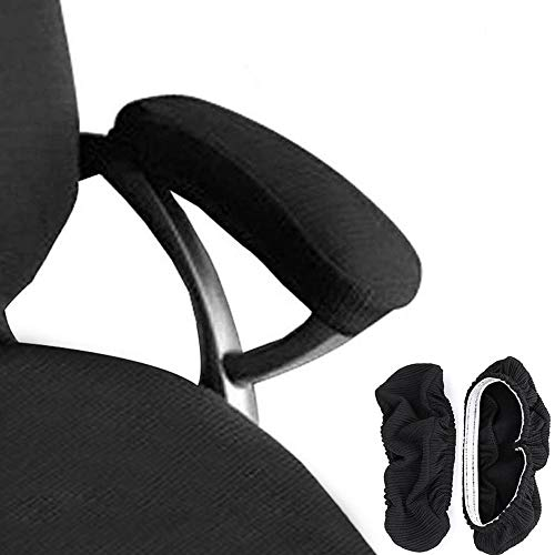 Melaluxe 2 Set Polyester Removable Office Chair Armrest Covers Arm Rest Slipcovers (Length-30cm) (Black)