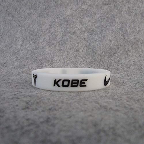 ZJZ 8 Estrella del Baloncesto Kobe Bryant Movimiento Luminosa estándar de Pulsera de Silicona Resistente al Pulseras Brazalete 81 Memorial (Color : White Black Two Means 17CM)
