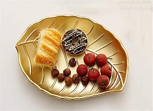 SWECOMZE Juego de 2 platos de fruta europeos sencillos y creativos, platos decorativos para aperitivos, platos de fruta, aperitivos, bandeja dorada, bandeja de decoración principal (Golden Konoha A)