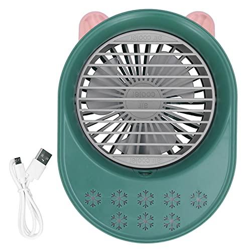 Ventilador De Escritorio Usb, PortáTil Personal Humidificador 200Ml Aire Acondicionado Carga Usb Velocidad Del Viento De 2 Marchas Conveniente De Usar Ventilador De RefrigeracióN Por Aire(verde)
