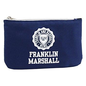 Franklin Marshall pennenetui met powerbank, pennenhouder met 1 ritssluiting, pennenhouder, kleur marker, blauw