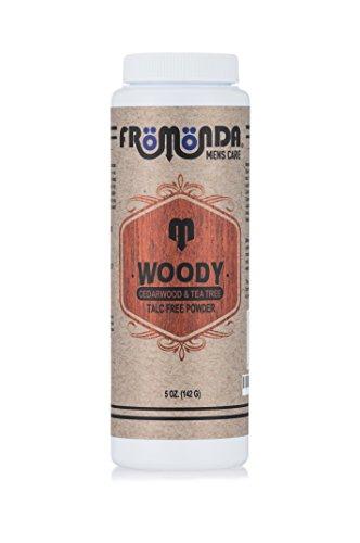 Fromonda (Woody) Body Powder Cedarwood & Tea Tree (5 oz, 1-Pack) Unisex, Talc-Free, Anti-Chaffing, Sweat Defense with Essential Oils