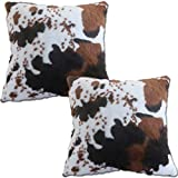 Entua 2 Pcs Faux Fur Rabbit Cow Hide Pillows Cover Decorative Cow Skin Throw Pillow Covers Case Luxury Farm Animal Print Soft Plush Pillow Cover Brown and White Cushion Cover for Sofa