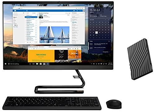 "Lenovo IdeaCentre A340 23.8"" FHD AIO Desktop (Intel i5/8GB/1TB HDD+256GB SSD/Win 10/MSO/DVD±RW/HD 720p Cam/Wireless Keyboard & Mouse) Black F0E800SSIN + Lenovo Portable 1TB External Hard Disk Drive"