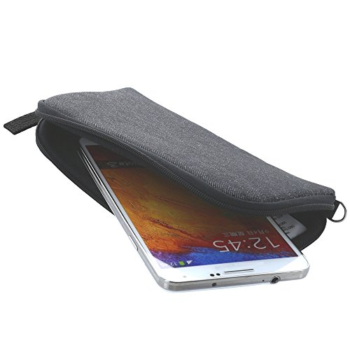 XiRRiX Handyhülle mit Handschlaufe 7.2 - universal Größe 4XL passend für Huawei Honor 8X / Samsung Galaxy A7 2018 / J4+ J6+ - Handytasche schwarz/grau
