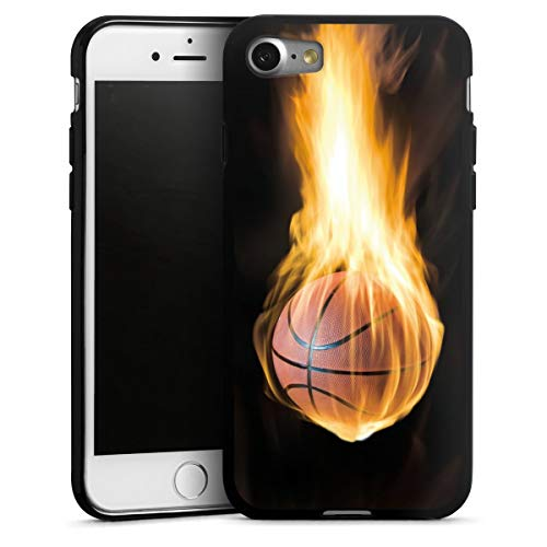 DeinDesign Silikon Hülle kompatibel mit Apple iPhone SE (2020) Hülle schwarz Handyhülle Basketball Feuer Sport