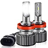 H11 LED Headlight Bulbs, 50W 10800LM H8 H9 Extremely Bright CSP Chips LED Conversion Kit, High Low Beam Headlamp Hi/Lo Beam Headlights with Cooling Fan 6000K Xenon White - 2 Pack