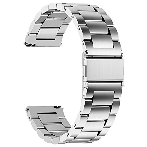 Fullmosa 4 Colores para Correa Metálica de Reloj de Liberación Rápida, Pulsera Reloj de Acero Inoxidable, Plata 22mm
