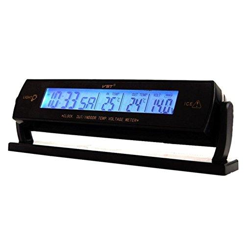 XUNQI 3-in-1-Digital-KFZ-Thermometer LCD Innen Außen Uhr Akku Spannung Monitor 12V