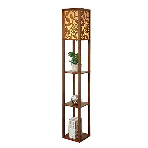 QIANGUANG® Innenbeleuchtung 1,6m Holz Stehleuchte mit Regalen für Schlafzimmer und Wohnzimmer (keine Glühbirne) (Neu Braun1)