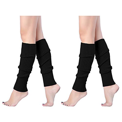 V28 Women Juniors 80s Eighty's Ribbed Leg Warmers for Party Sports, 2(Blk+Blk)