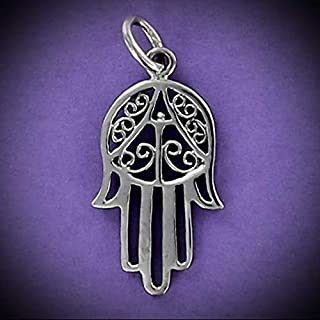 Hamsa Charm Sterling Silver for Bracelet Open Filigree Judaica Eye Hand Five Vintage Crafting Pendant Jewelry Making Supplies - DIY for Necklace Bracelet Accessories by CharmingSS