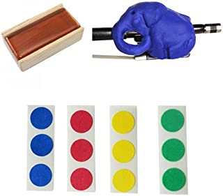 Cello Bow Practice Aid Pack - Includes Blue Cellophant, Rosin, & Finger Markers