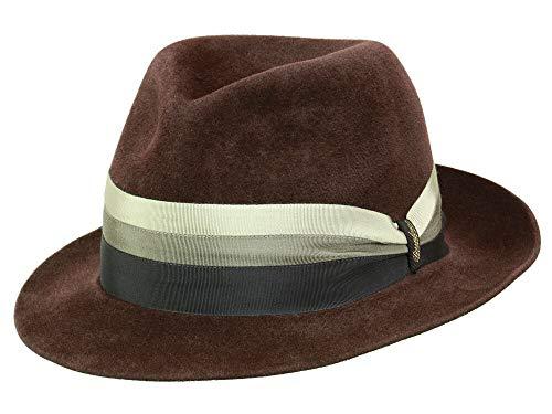 Borsalino Veloursfilz Fedora Hut aus Haarfilz - Rotbraun (380) - 55 cm