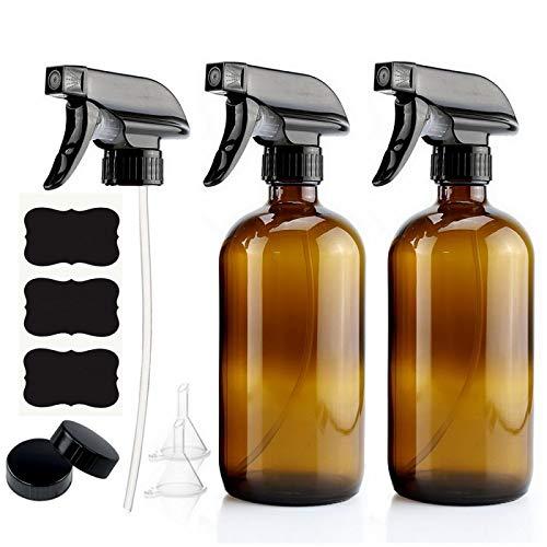 CLSMYLFB Botella de spray de 2 piezas de 250 ml de vidrio ámbar vacío con pulverizador negro y etiquetas para aceites esenciales, limpieza de aromaterapia