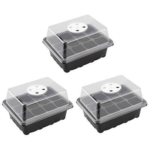 Duless 3pcs Seedling Starter Trays,12 Cell Insert Plant Grow Kit,with Upper Cover and Tray,19x15x9cm