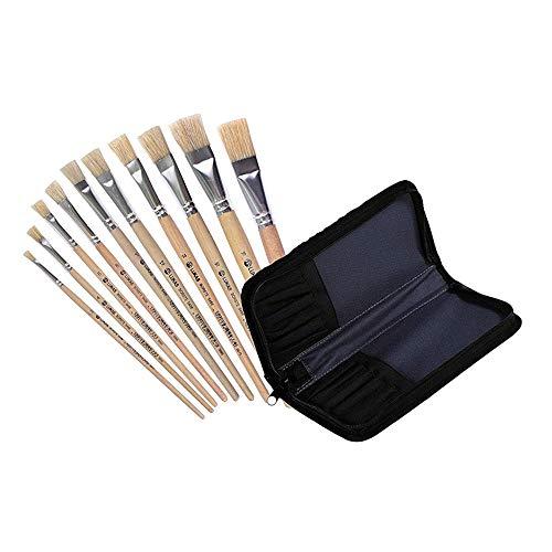 LUKAS Flach-Pinsel/Borstenpinsel Zurück zur Schule 10er Set - Für Acryl, Öl, Gouache etc. Größe: 2, 4, 6, 8, 10, 12, 14, 16, 18, 20 Echthaar (Flach-Pinsel + Tasche)