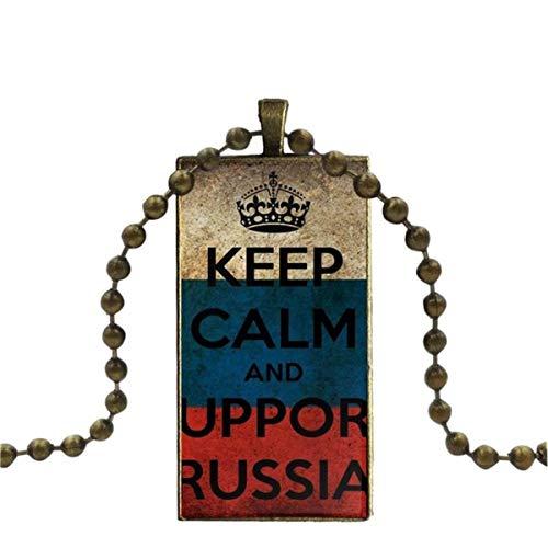 SYSFOUR Collar con colgante de cristal hecho a mano y medio colgante rectangular para mujer, joyería Keep Calm I'm Russian Flag