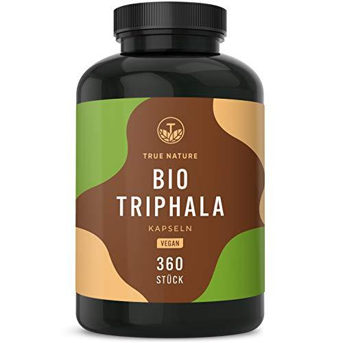 TRUE NATURE® Bio Triphala - 360 Kapseln mit je 500mg - 2.000mg Hochdosiert - Premium Triphala Früchte aus Indien - Ohne Zusatzstoffe - Vegan, Laborgeprüft, Deutsche Produktion