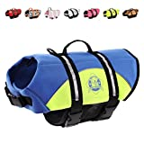 Paws Aboard Dog Life Jacket, Neoprene Dog Life Vest for Swimming and Boating - Blue/Yellow