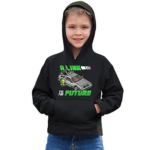 Sweat-shirt à Capuche Enfant Noir parodie Zelda - Link et la Delorean de Retour vers le Futur - A Link to the Past and Future (Sweatshirt de qualité premium de taille 9-10 ans - imprimé en France)