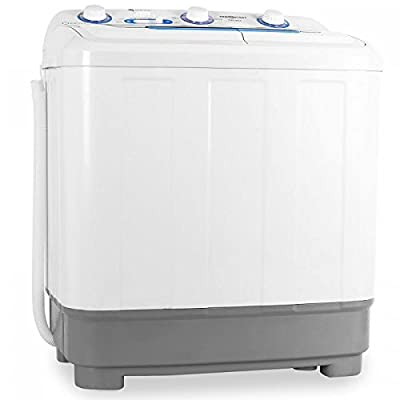 oneConcept DB004 Comfort Spin - Camping Washing Machine, Mini Washing Machine, Washing Machine for Singles, 4.8kg Volume, Spin Dryer, 380W Washing Power, 160 W Centrifugal Power, Timer, White