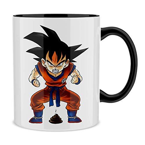 Okiwoki Mug avec Anse et intérieur de Couleur (Noir) - Parodie Dragon Ball Z - DBZ - Sangoku - Super Caca - Vol.1 (Mug de qualité supérieure - imprimé en France)
