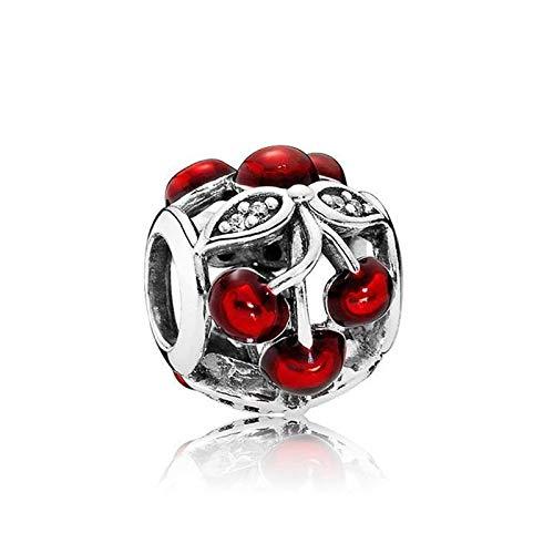 LILANG Pulsera de joyería Pandora 925, Cuentas de Plata esterlina auténtica Natural, Encanto de Cerezas Dulces, Brazalete de Pan de Moda Adecuado para Mujeres, Regalo de Bricolaje