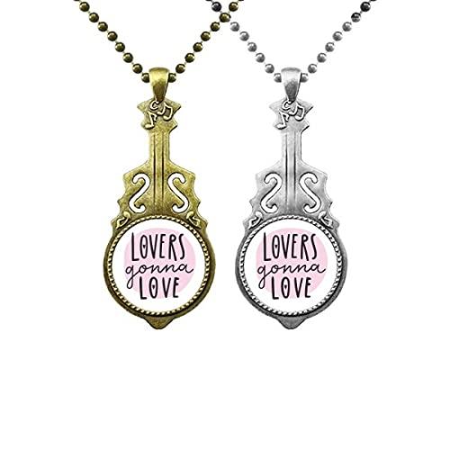 Halskette mit Anhänger mit Musik-Gitarren-Zitat für Liebesliebhaber