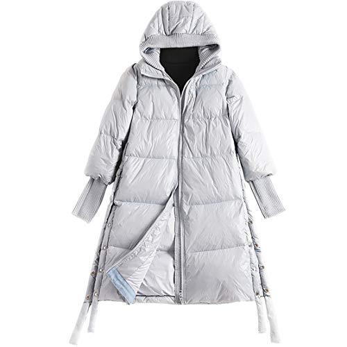 MJLAD dames, lange jas donsjack, winterwinddichte manchetjas, modieuze zijsplit-jas met capuchon