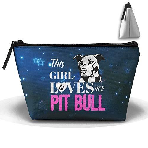 Dieses Mädchen liebt ihren Pitbull, Trapez, Aufbewahrungstasche, Beutel, Kosmetiktasche Fashion Carry Case Wash Bag
